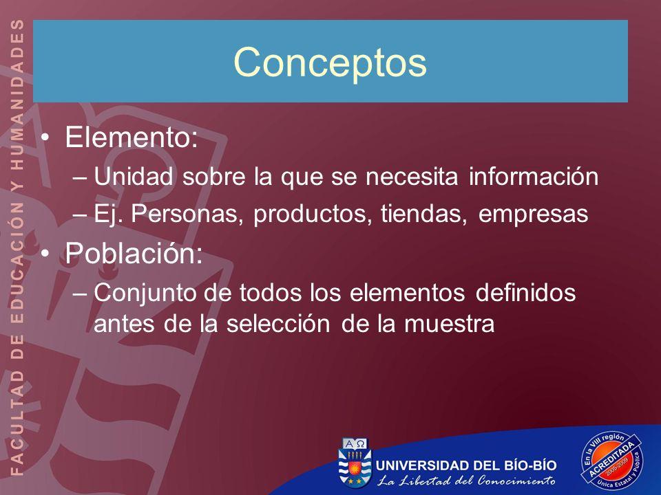 Conceptos Elemento: –Unidad sobre la que se necesita información –Ej. Personas, productos, tiendas, empresas Población: –Conjunto de todos los element