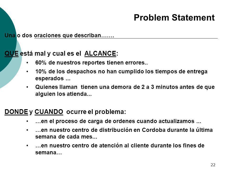 22 Problem Statement Una o dos oraciones que describan……. QUE está mal y cual es el ALCANCE: 60% de nuestros reportes tienen errores.. 10% de los desp