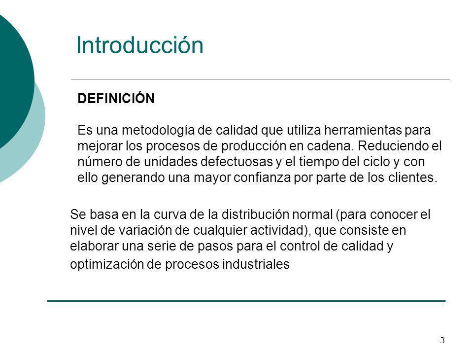 3 Introducción DEFINICIÓN Es una metodología de calidad que utiliza herramientas para mejorar los procesos de producción en cadena. Reduciendo el núme