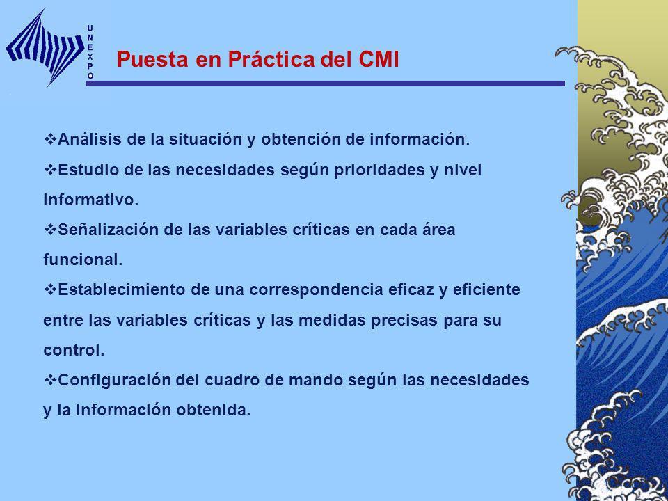 Puesta en Práctica del CMI Análisis de la situación y obtención de información. Estudio de las necesidades según prioridades y nivel informativo. Seña
