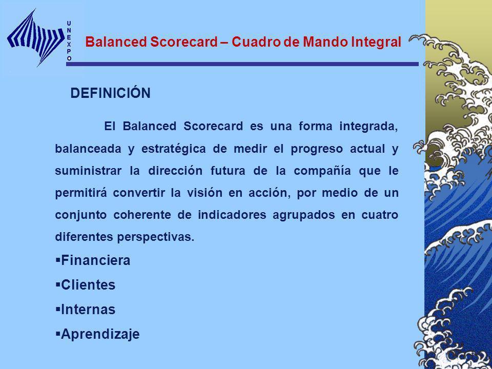 DEFINICIÓN Balanced Scorecard – Cuadro de Mando Integral El Balanced Scorecard es una forma integrada, balanceada y estratégica de medir el progreso a