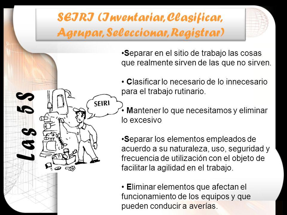 SEIRI (Inventariar, Clasificar, Agrupar, Seleccionar, Registrar) SEIRI (Inventariar, Clasificar, Agrupar, Seleccionar, Registrar) Separar en el sitio