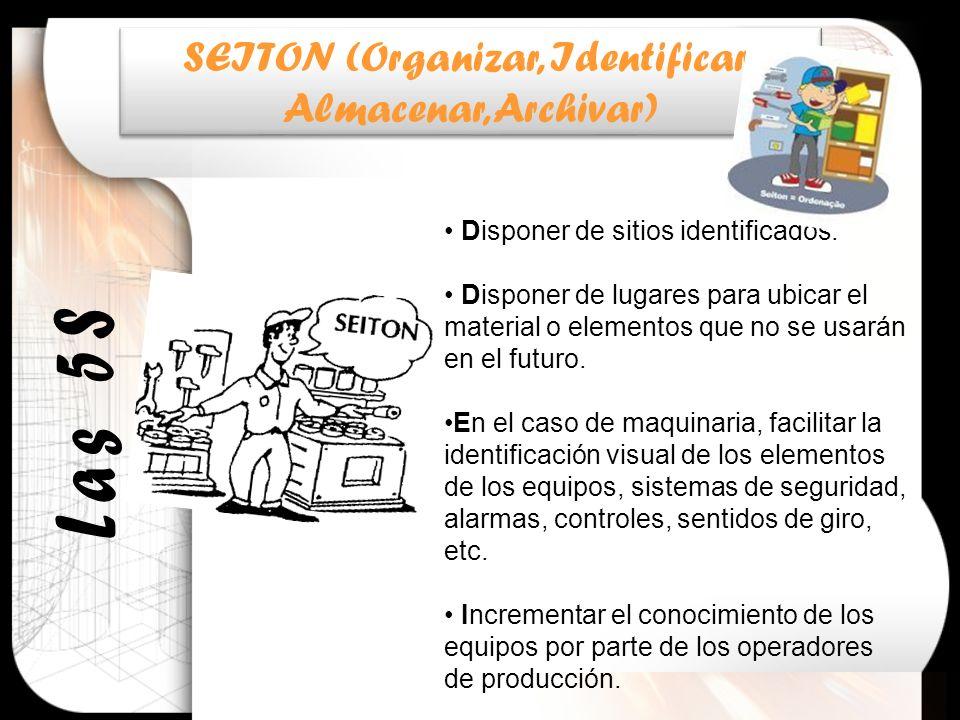 SEITON (Organizar, Identificar, Almacenar, Archivar) SEITON (Organizar, Identificar, Almacenar, Archivar) Disponer de sitios identificados. Disponer d