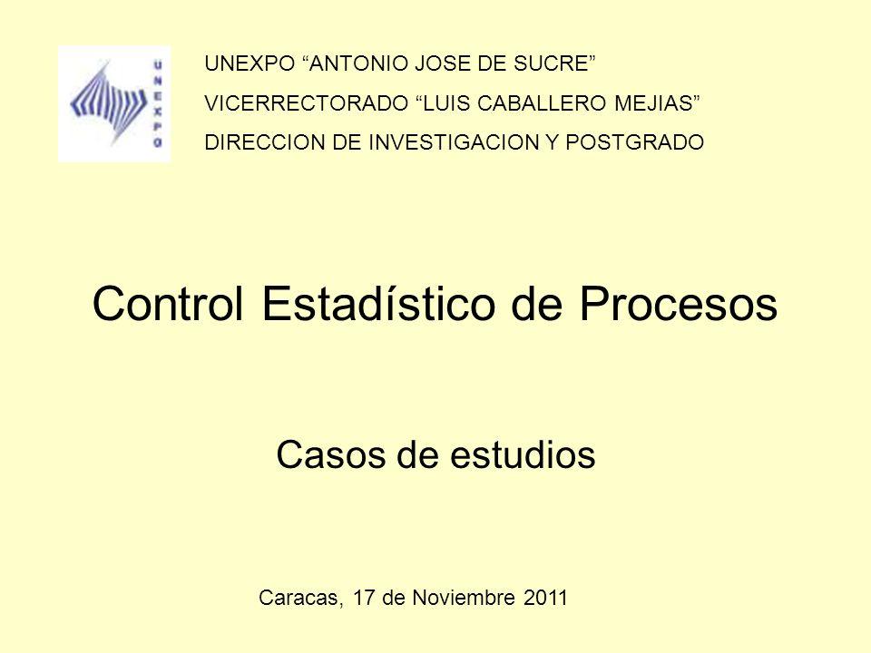 Control Estadístico de Procesos Casos de estudios UNEXPO ANTONIO JOSE DE SUCRE VICERRECTORADO LUIS CABALLERO MEJIAS DIRECCION DE INVESTIGACION Y POSTG