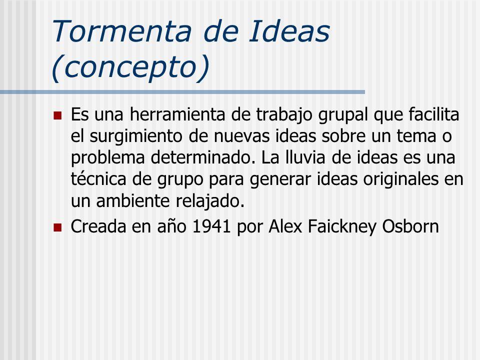 Tormenta de Ideas (concepto) Es una herramienta de trabajo grupal que facilita el surgimiento de nuevas ideas sobre un tema o problema determinado. La
