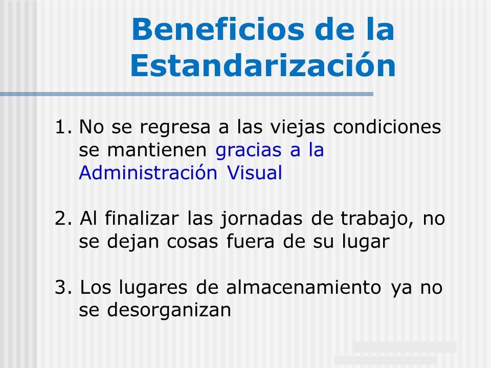 18 1.No se regresa a las viejas condiciones se mantienen gracias a la Administración Visual 2. Al finalizar las jornadas de trabajo, no se dejan cosas