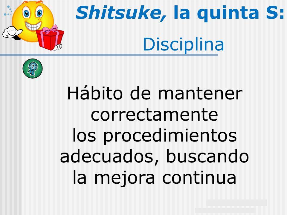 20 Shitsuke, la quinta S: Disciplina Hábito de mantener correctamente los procedimientos adecuados, buscando la mejora continua