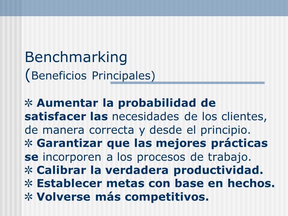 Benchmarking ( Beneficios Principales) Aumentar la probabilidad de satisfacer las necesidades de los clientes, de manera correcta y desde el principio