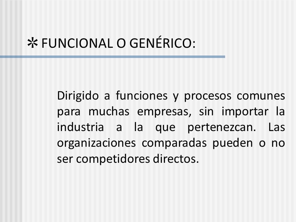 FUNCIONAL O GENÉRICO: Dirigido a funciones y procesos comunes para muchas empresas, sin importar la industria a la que pertenezcan. Las organizaciones