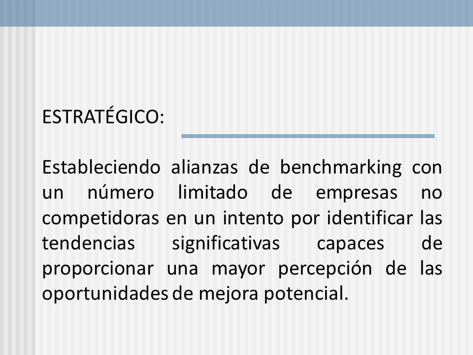 ESTRATÉGICO: Estableciendo alianzas de benchmarking con un número limitado de empresas no competidoras en un intento por identificar las tendencias si