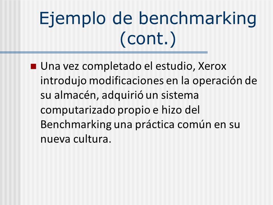 Una vez completado el estudio, Xerox introdujo modificaciones en la operación de su almacén, adquirió un sistema computarizado propio e hizo del Bench