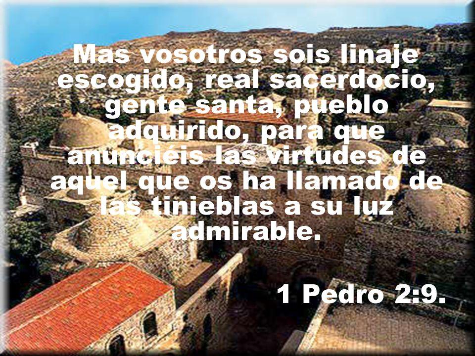 Mas vosotros sois linaje escogido, real sacerdocio, gente santa, pueblo adquirido, para que anunciéis las virtudes de aquel que os ha llamado de las t
