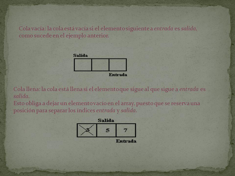 Cola vacía: la cola está vacía si el elemento siguiente a entrada es salida, como sucede en el ejemplo anterior. Cola llena: la cola está llena si el