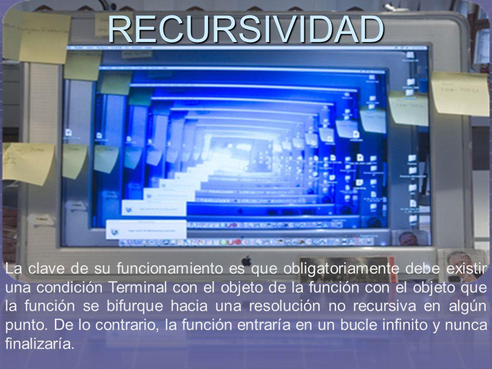 RECURSIVIDAD La clave de su funcionamiento es que obligatoriamente debe existir una condición Terminal con el objeto de la función con el objeto que l