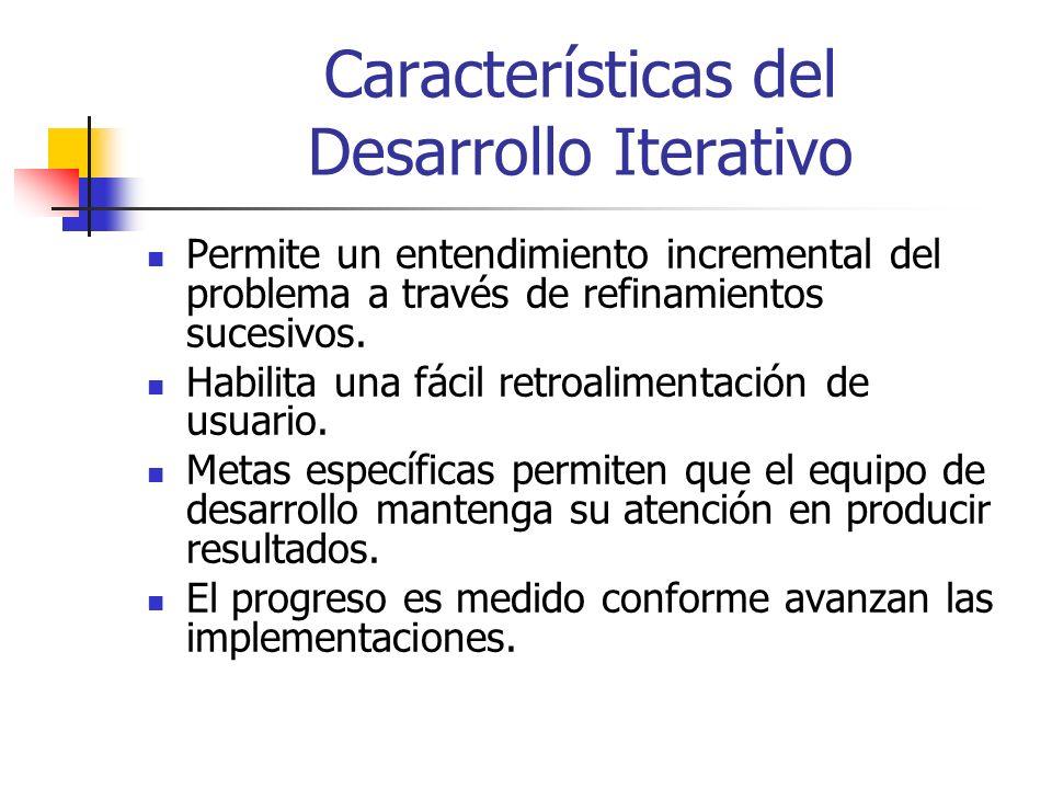 Características del Desarrollo Iterativo Permite un entendimiento incremental del problema a través de refinamientos sucesivos.
