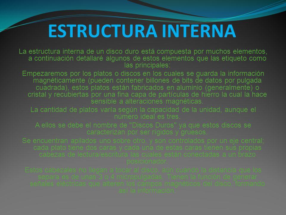 ESTRUCTURA INTERNA La estructura interna de un disco duro está compuesta por muchos elementos, a continuación detallaré algunos de estos elementos que