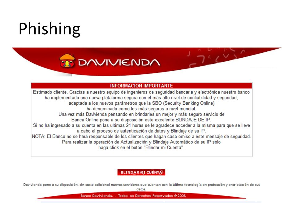 Al abrir el enlace del mensaje, se abre una página similar a la del banco donde se piden datos personales.