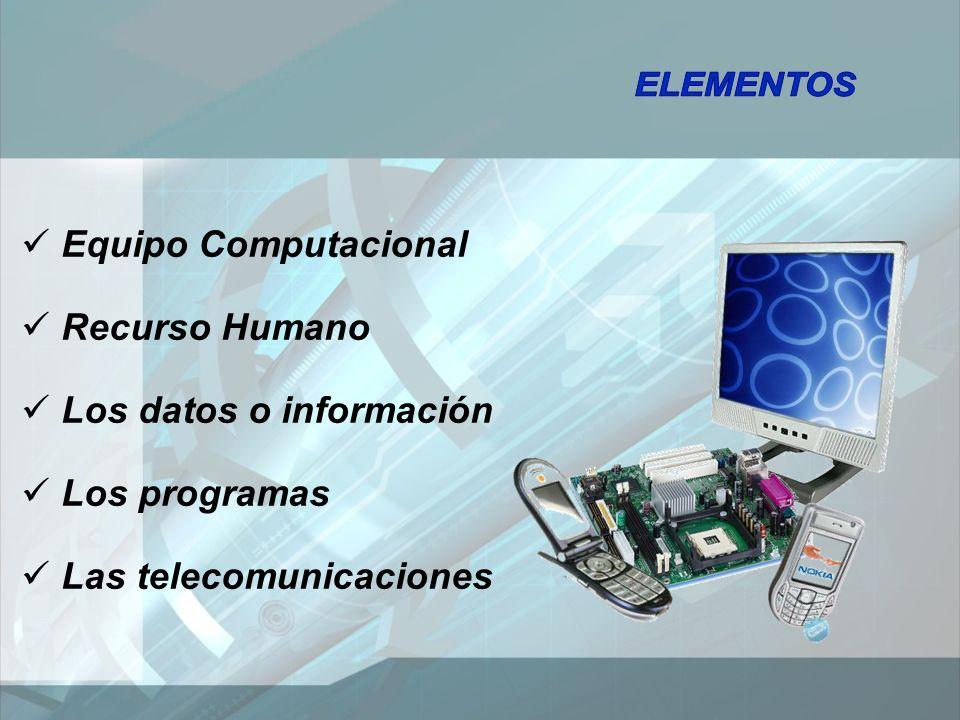 Equipo Computacional Recurso Humano Los datos o información Los programas Las telecomunicaciones
