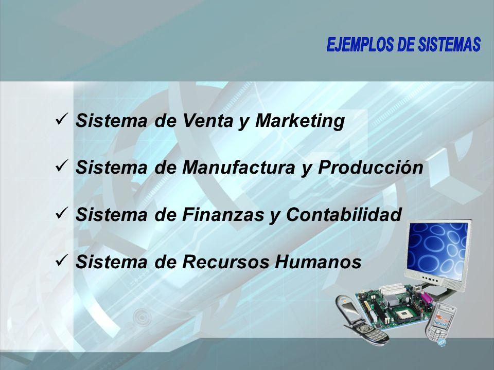 Sistema de Venta y Marketing Sistema de Manufactura y Producción Sistema de Finanzas y Contabilidad Sistema de Recursos Humanos