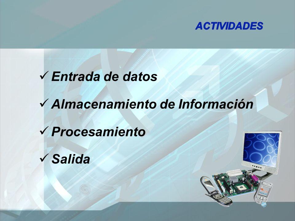 Entrada de datos Almacenamiento de Información Procesamiento Salida