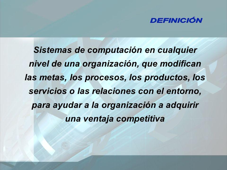 Sistemas de computación en cualquier nivel de una organización, que modifican las metas, los procesos, los productos, los servicios o las relaciones con el entorno, para ayudar a la organización a adquirir una ventaja competitiva