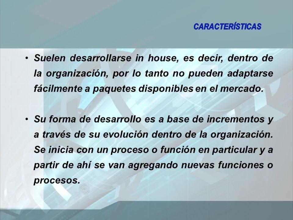 Suelen desarrollarse in house, es decir, dentro de la organización, por lo tanto no pueden adaptarse fácilmente a paquetes disponibles en el mercado.
