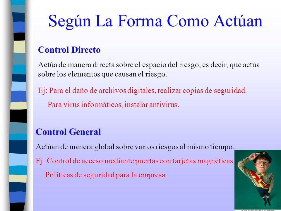 Según La Forma Como Actúan Control Directo Actúa de manera directa sobre el espacio del riesgo, es decir, que actúa sobre los elementos que causan el
