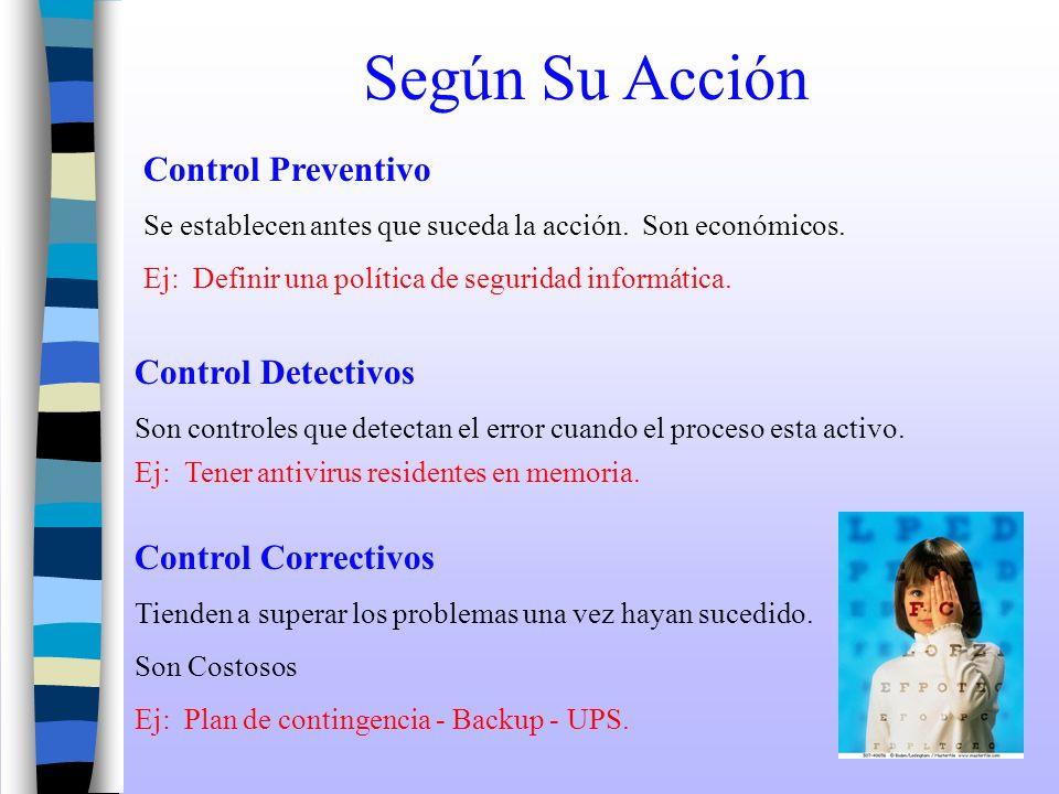 Según Su Acción Control Preventivo Se establecen antes que suceda la acción. Son económicos. Control Detectivos Son controles que detectan el error cu