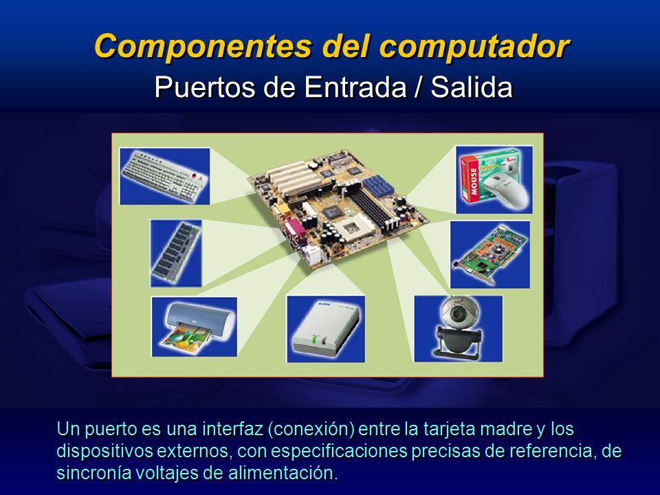 Componentes del computador Un puerto es una interfaz (conexión) entre la tarjeta madre y los dispositivos externos, con especificaciones precisas de r