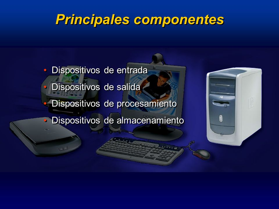 Componentes del computador Dispositivos de entrada Medios con que el usuario proporciona a la computadora instrucciones, órdenes, comandos y datos diversos, para que ésta los procese.