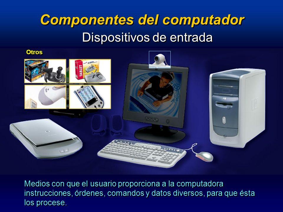 Componentes del computador Dispositivos de salida Dispositivos que proporcionan al usuario el resultado final del procesamiento de información.