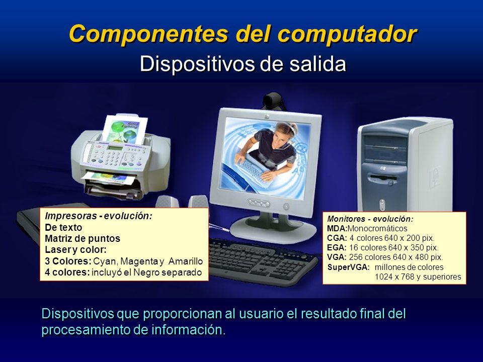Componentes del computador Dispositivos de salida Dispositivos que proporcionan al usuario el resultado final del procesamiento de información. Monito