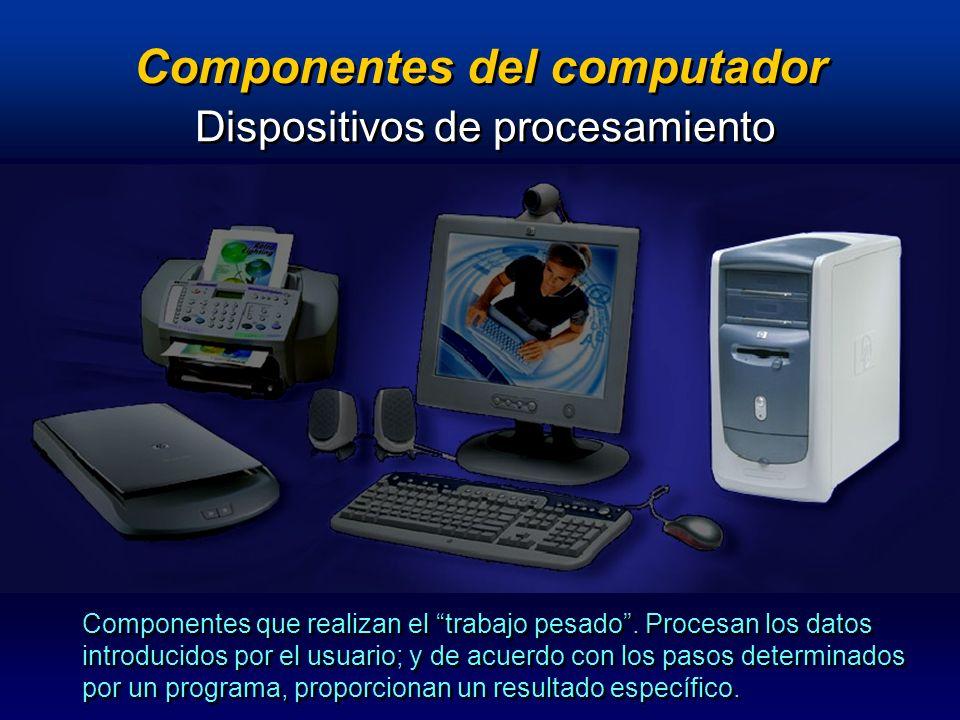 Componentes del computador Dispositivos de procesamiento Memoria : RAM / ROM Microprocesador Tarjeta de video (integradas / adicionales) Tarjeta de sonido (integradas / adicionales) Tarjeta de video (integradas / adicionales) Tarjeta de sonido (integradas / adicionales) Tarjeta Madre