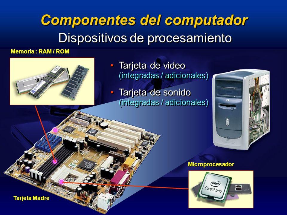 Componentes del computador Dispositivos de procesamiento Memoria : RAM / ROM Microprocesador Tarjeta de video (integradas / adicionales) Tarjeta de so