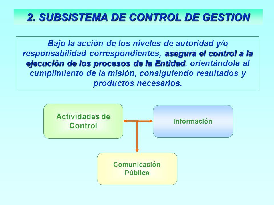 asegura el control a la ejecución de los procesos de la Entidad Bajo la acción de los niveles de autoridad y/o responsabilidad correspondientes, asegu