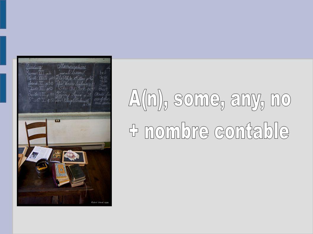 A, an + nombre contable Se traduce por un o una.