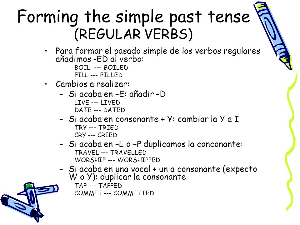 Forming the simple past tense (REGULAR VERBS) Para formar el pasado simple de los verbos regulares añadimos -ED al verbo: BOIL --- BOILED FILL --- FILLED Cambios a realizar: –Si acaba en –E: añadir –D LIVE --- LIVED DATE --- DATED –Si acaba en consonante + Y: cambiar la Y a I TRY --- TRIED CRY --- CRIED –Si acaba en –L o –P duplicamos la conconante: TRAVEL --- TRAVELLED WORSHIP --- WORSHIPPED –Si acaba en una vocal + un a consonante (expecto W o Y): duplicar la consonante TAP --- TAPPED COMMIT --- COMMITTED