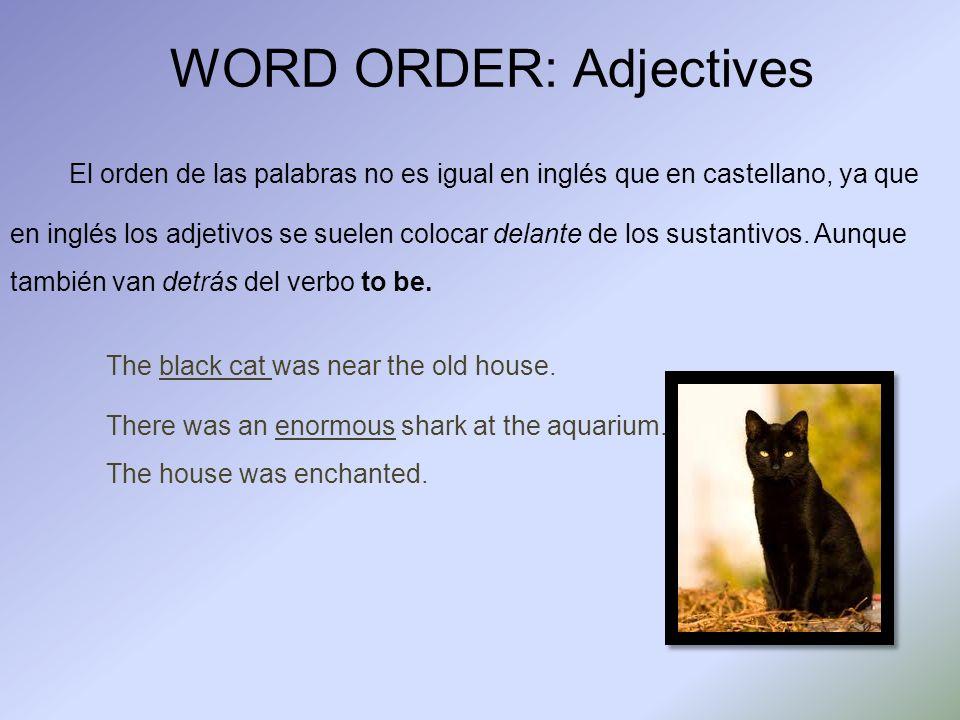 WORD ORDER: Adjectives El orden de las palabras no es igual en inglés que en castellano, ya que en inglés los adjetivos se suelen colocar delante de l