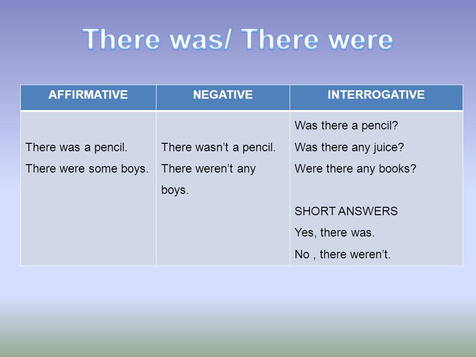 AFFIRMATIVENEGATIVEINTERROGATIVE There was a pencil. There were some boys. There wasnt a pencil. There werent any boys. Was there a pencil? Was there