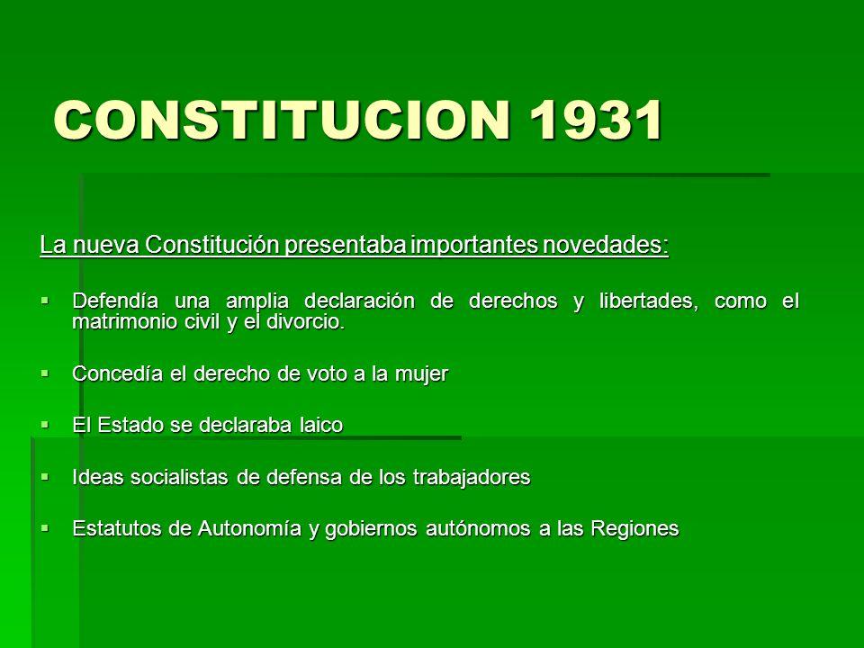 CONSTITUCION 1931 La nueva Constitución presentaba importantes novedades: Defendía una amplia declaración de derechos y libertades, como el matrimonio