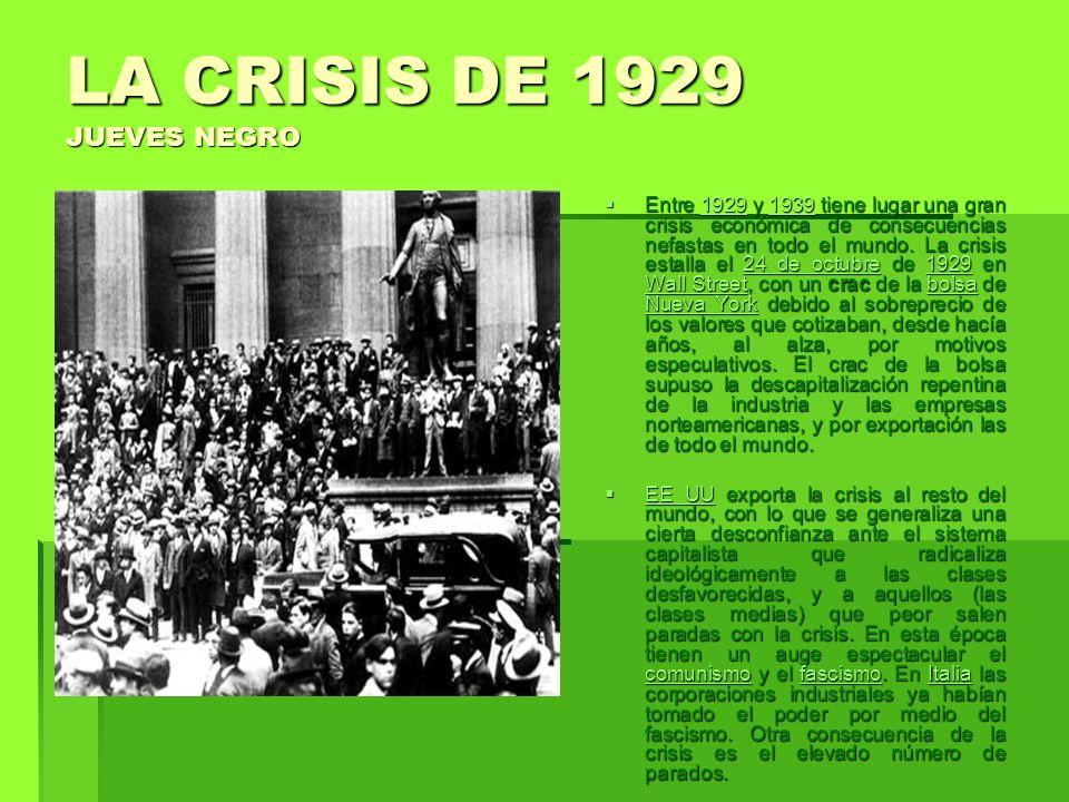 LA CRISIS DE 1929 JUEVES NEGRO Entre 1929 y 1939 tiene lugar una gran crisis económica de consecuencias nefastas en todo el mundo. La crisis estalla e