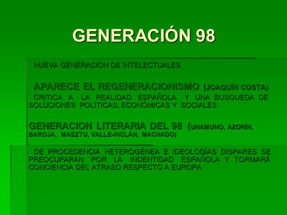 GENERACIÓN 98 NUEVA GENERACION DE INTELECTUALES NUEVA GENERACION DE INTELECTUALES APARECE EL REGENERACIONISMO ( JOAQUÍN COSTA) APARECE EL REGENERACION