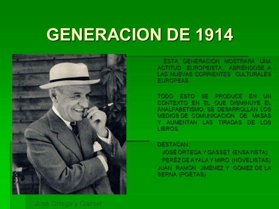 GENERACION DE 1914 ESTA GENERACIÓN MOSTRARÁ UNA ACTITUD EUROPEISTA, ABRIÉNDOSE A LAS NUEVAS CORRIENTES CULTURALES EUROPEAS. ESTA GENERACIÓN MOSTRARÁ U