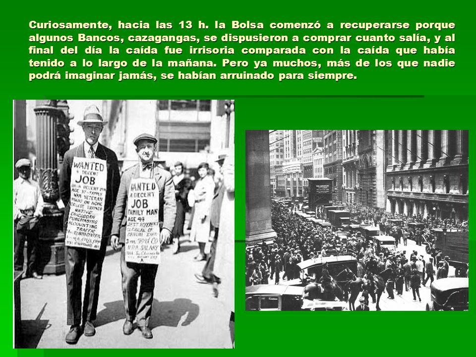 Aquel 24 de octubre de 1929 pasó a la historia como el Jueves Negro, el del crack bursátil, sin embargo, aún estaría por llegar el derrumbe del día 29, el Martes Negro, aquél en que además de especuladores, cayeron grandes Bancos, multinacionales y trusts.