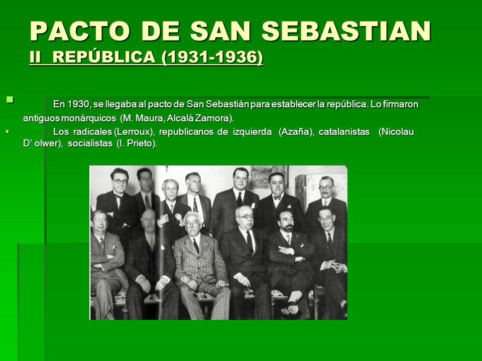 PACTO DE SAN SEBASTIAN II REPÚBLICA (1931-1936) En 1930, se llegaba al pacto de San Sebastián para establecer la república. Lo firmaron antiguos monár