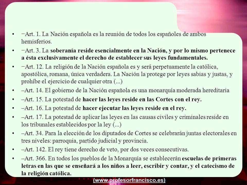 (www.profesorfrancisco.es) Art. 1. La Nación española es la reunión de todos los españoles de ambos hemisferios. Art. 3. La soberanía reside esencialm