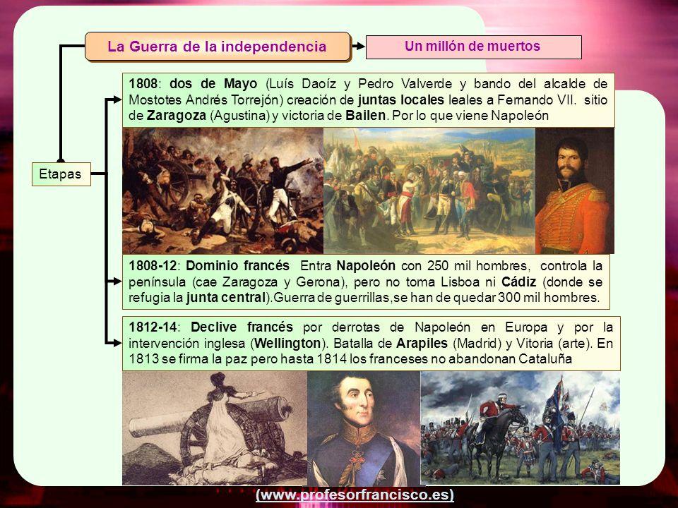 (www.profesorfrancisco.es) Etapas Un millón de muertos 1808: dos de Mayo (Luís Daoíz y Pedro Valverde y bando del alcalde de Mostotes Andrés Torrejón)