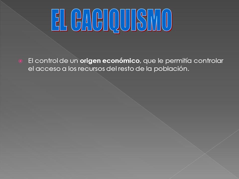 El control de un origen económico, que le permitía controlar el acceso a los recursos del resto de la población.