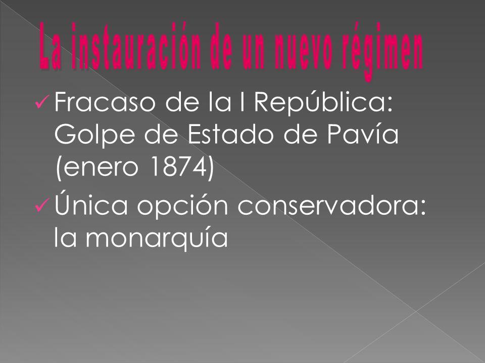Fracaso de la I República: Golpe de Estado de Pavía (enero 1874) Única opción conservadora: la monarquía