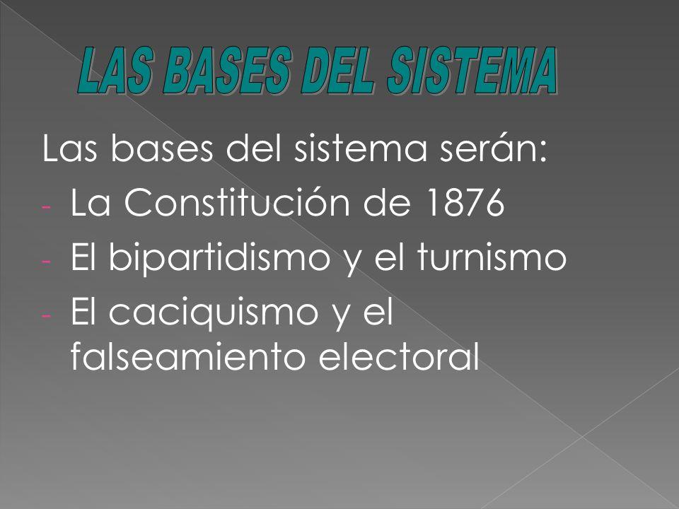 Las bases del sistema serán: -L-La Constitución de 1876 -E-El bipartidismo y el turnismo -E-El caciquismo y el falseamiento electoral